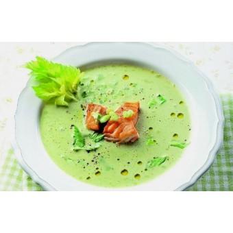 Бизнес - ланч. Крем суп из зеленого горошка и чипсы из бекона
